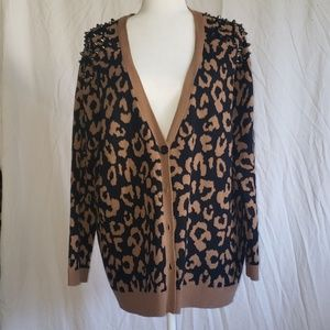 Forever 21 Leopard Printed Studded Cardigan